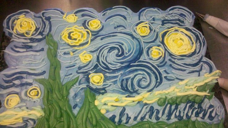 Van Gogh's Starry Night as a pull-apart cupcake cake
