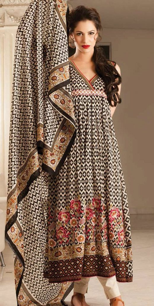 Black/Beige Embroidered Cotton Lawn Salwar Kameez Dress $84.99 DESIGNER LAWN 2014 Pakistani Indian Dresses Online, Men Women Clothing and Shoes | PakRobe.com
