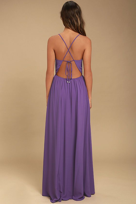 The Everything's All Bright Purple Backless Maxi Dress is here to brighten up all your special days! Woven poly forms this elegant maxi dress with a sultry, surplice bodice, and lace-up back. Full skirt has a bit of elastic at back.