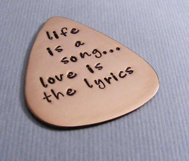 Personalized Guitar Pick-Custom Pick For Him-Music Lovers Gift-Mens Gift-Hand Stamped Gift. $18.00, via Etsy.