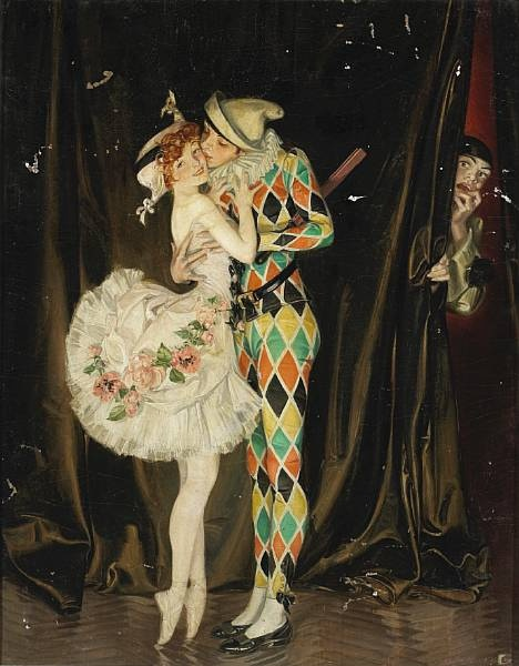 F. X. Leyendecker: Harlequin, Art Commedy, Jester, Illustration, Circus, Sparrow