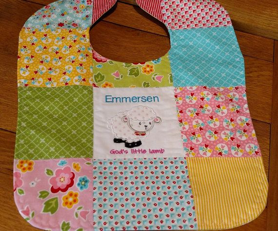26 best personalized baby bibs images on pinterest baby bibs items similar to personalized patchwork applique baby bib lamb baby gift riley blake fabric shower gift on etsy negle Image collections