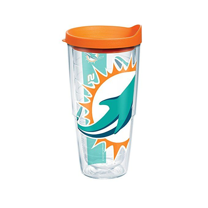 Clear Tervis 1085208 NFL Miami Dolphins Colossal Tumbler with Wrap and Orange Lid 24oz