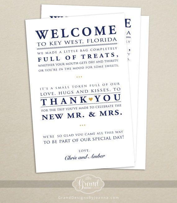 Wedding Hotel Welcome Bag Letter Wedding Welcome Bag