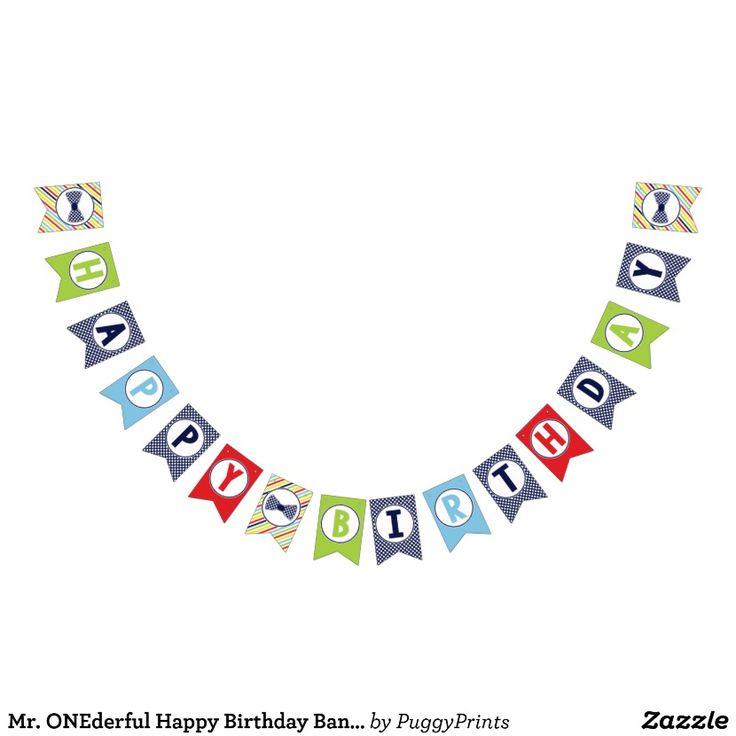 Mr. ONEderful Happy Birthday Banner | Bunting