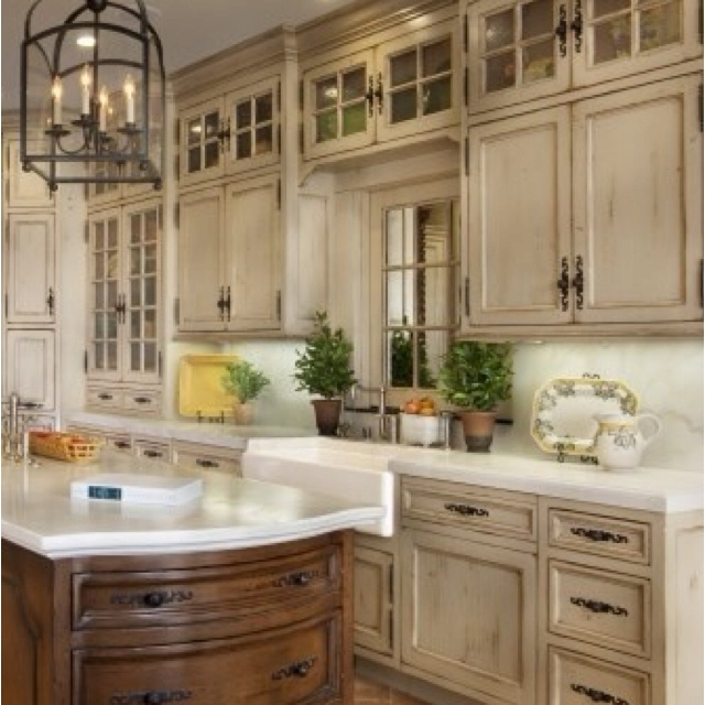 Distressed Cupboards- Old Fashioned Kitchen...do This To