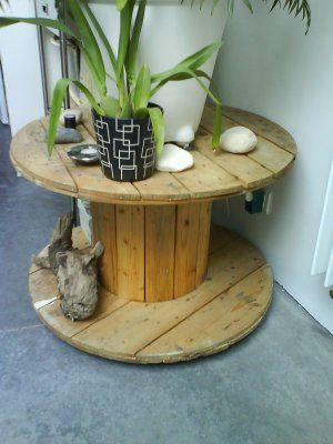Bobine de chantier en table d 39 appoint bobina pinterest - Table salon palette chantier ...