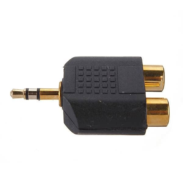 Gold Plated 3.5mm Stereo Audio Male Plug To 2 RCA Female Y Splitter Adapter Feature: Connector A: 3.5mm Stereo Plug, Golden-Plated Connector B: 2 x RCA Female, Golden-Plated This item can be used to connect the headphone socket of MP3 players to stereo system Suitable for audio connections and...