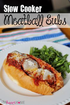 Slow Cooker Meatball Sub Sandwiches ~ meatballs cook up in the crock pot to top tasty and effortless subs | {Five Heart Home}