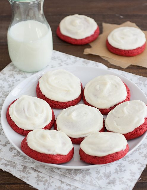 Red Velvet Cookies with Cream Cheese Frosting by Tracey's Culinary Adventures