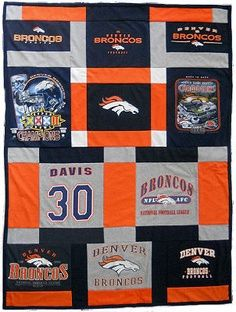 denver broncos t shirt quilt | Denver Broncos T-shirt Quilt needs a good home with a Denver Bronco ...