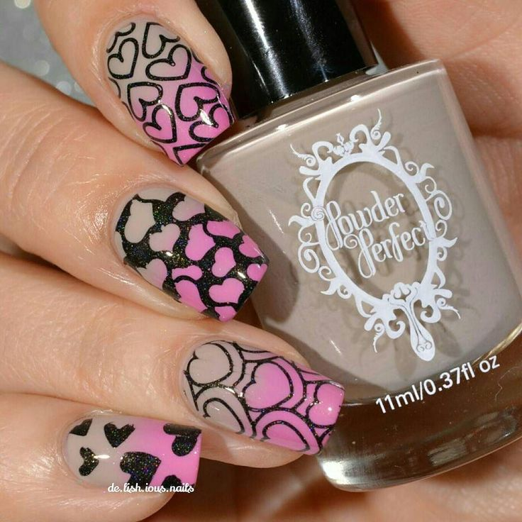 Some heart  nail art today using the two colors I posted earlier.    Products used: Rainy Days Call For Griege and Principessa by @powderperfect Panther by @colorsbyllarowe (part of their stamping polish collection) Creative Shop Stamper from @whatsupnails Gogo Only St. Lover plate    Tutorial later! #powderperfect #colorsbyllarowe #stampingnailart by de.lish.ious.nails