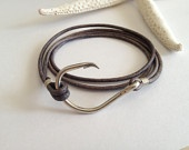 FREE SHIPPING for Fathers Day with coupon code - Leather Fish Hook Bracelet. $20.00, via Etsy.