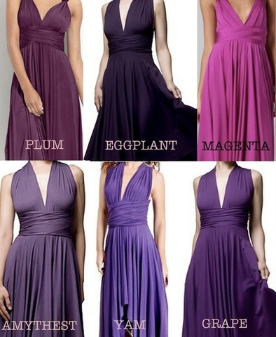 Bridesmaids In Various Shades Of Purple Yes I Think So