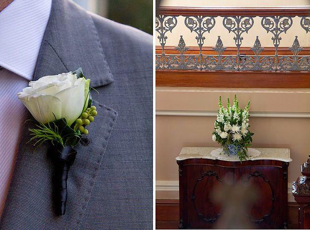 Buttonhole, Groomsmen, White and green flowers, Manson wedding, Naomi Rose Floral Design