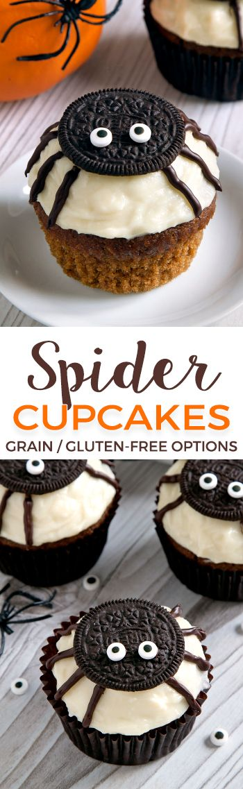 Easy to make spider cupcakes for Halloween with a pumpkin cupcake base and cream cheese frosting! With grain-free, gluten-free, whole grain and all-purpose flour options. Please click through to the recipe to see to see the dietary-friendly options.