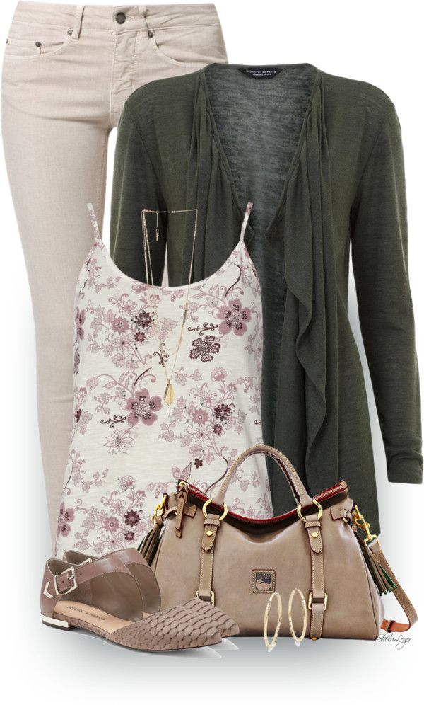 Ivory Floral Bling Cami Spring Outfit outfitspedia