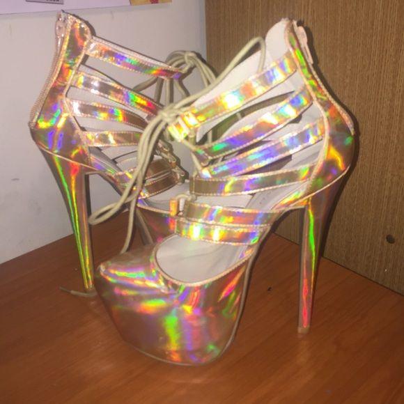 Golden hologram tie up platform shoes Platform pumps with a tie cage design and a stand out hologram color pattern ( Worn Once ) Shoes Platforms