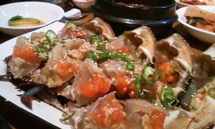Ganjang gejang. Crab marinated in soy sauce.