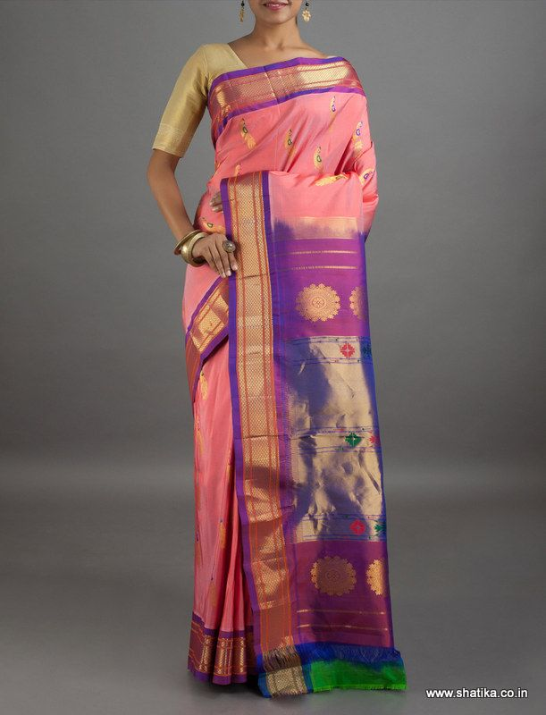 Ganga Light Pink Peacock Motif Pure Zari #PaithaniSilkSaree