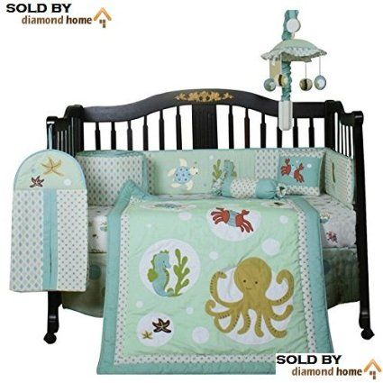 13 Piece Sea Animals Baby Bedding Crib Sets Neutral Unisex, Octopus Seahorse Crab Fish Turtle Starfish Sea Fish Creatures, Nursery Beach Undersea Themed Bedding Set, Full of Ocean Life