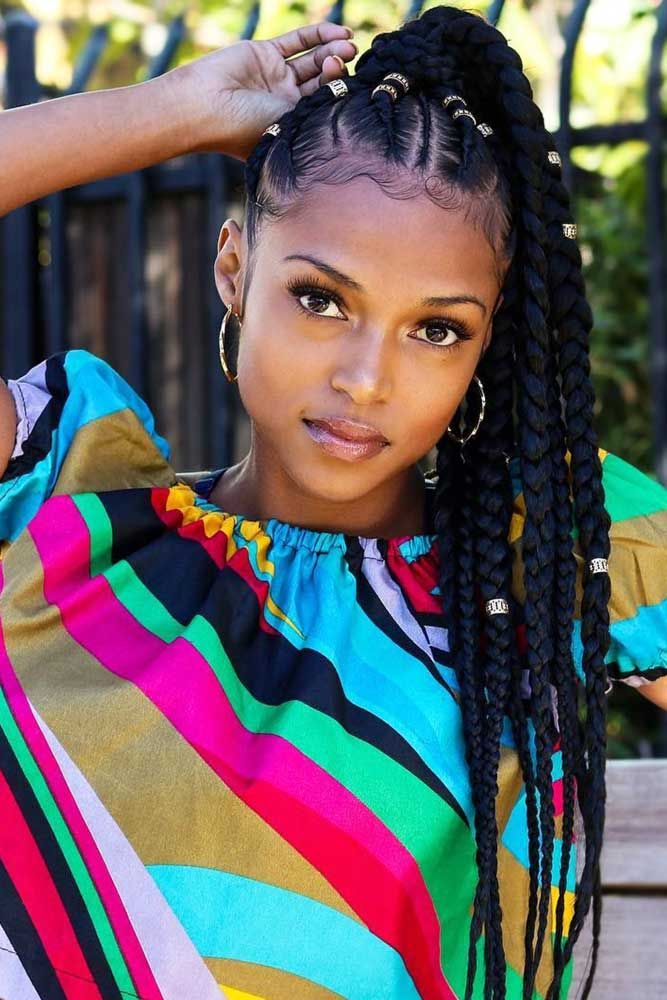 Fulani Braids Into High Pony #braids #updo #ponytail ★ Do you know how variously you can pull off crochet braids? Let us…