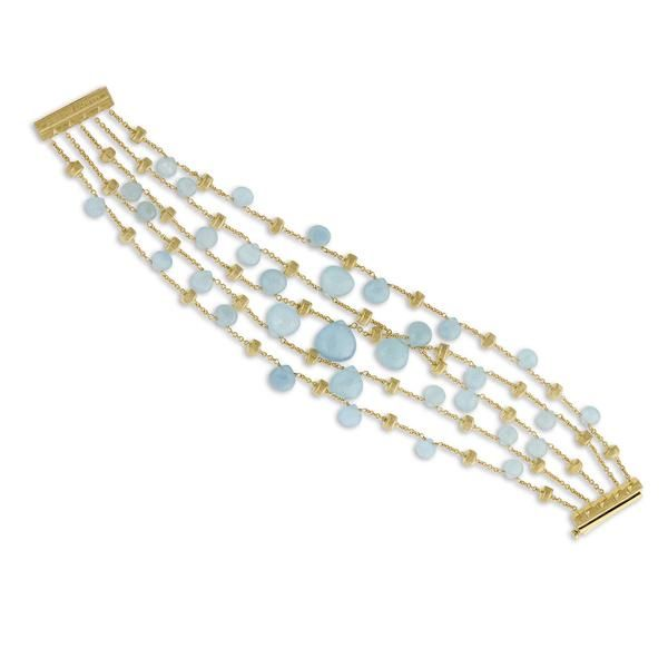 18K yellow gold five strand graduated bracelet with tabeez cut Aquamarine gemstones. A timeless and playful Marco Bicego classic, this Paradise Aquamarine Gemstone Bracelet is hand engraved by Italian artisans and composed of hand picked stones.