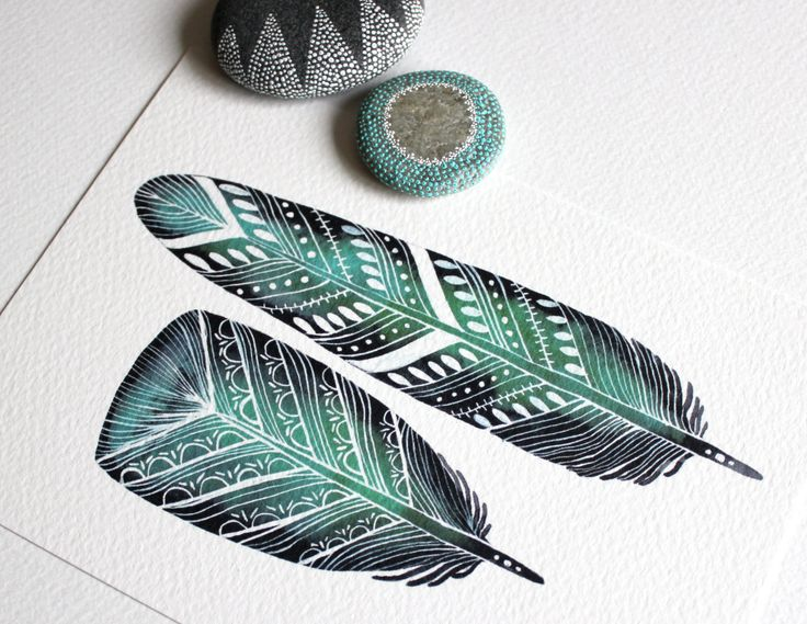 Emerald Feathers - Watercolor Painting - 8x10 Archival Print.
