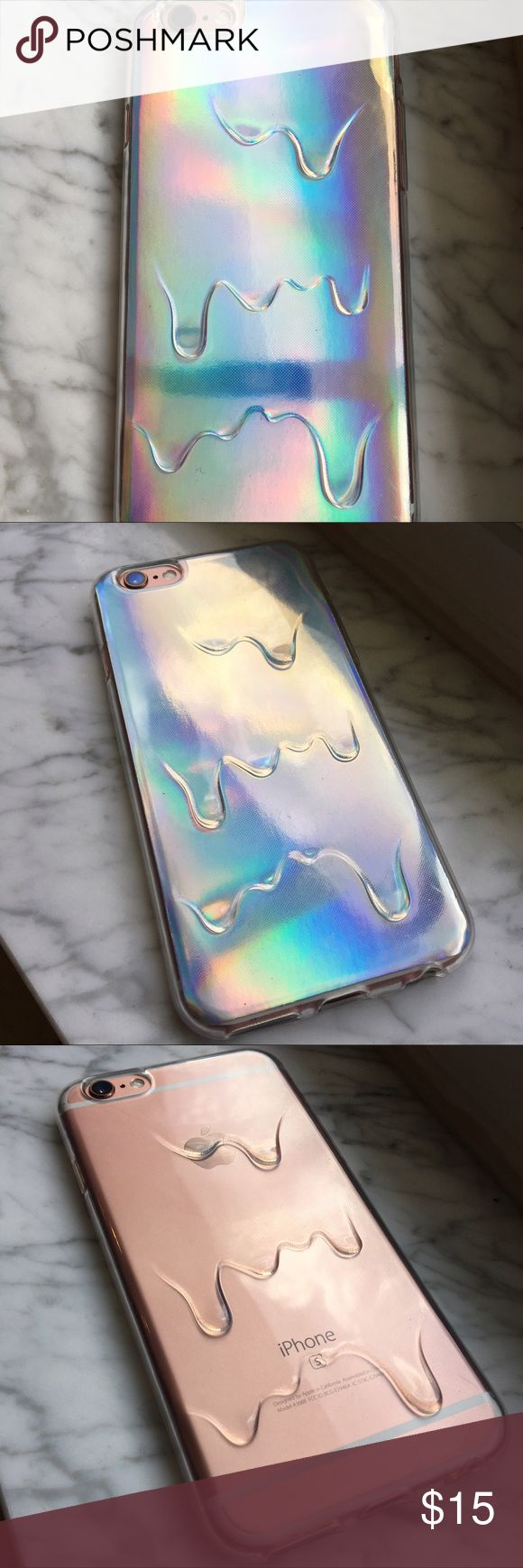 Holographic Drip Phone Case  Dope trippy phone case, perfect for anyone who is into fashion trends! Has removable holographic backing so can also be worn as a clear/ transparent drip case (as pictured). Brand new, never used. For iPhone 6/6S. Cute AND protective  Accessories Phone Cases