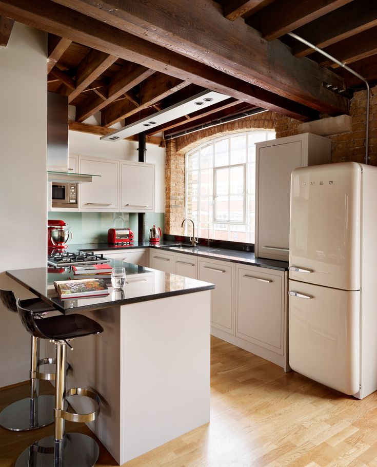 Stunning Smeg Refrigerator Kitchen Industrial with Bar Stools Breakfast Bar Exposed Brick Exposed