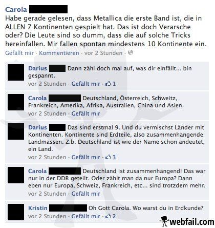 Metallica und die 7 Kontinente - Facebook Fail  Hahaha xD