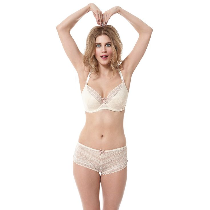 Liliana Creme Nude 1/2 Padded Plunge Bra and Short as worn by Ashley James