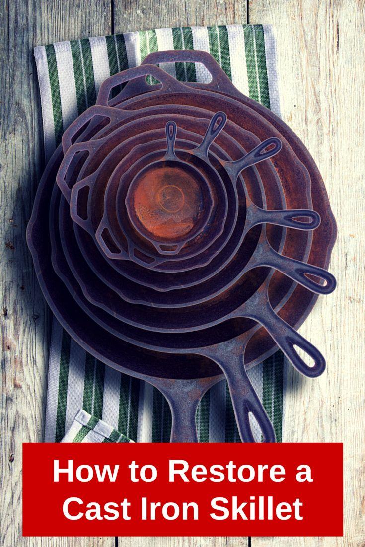 How to Restore a Cast Iron Skillet // agirlworthsaving.net // #castiron