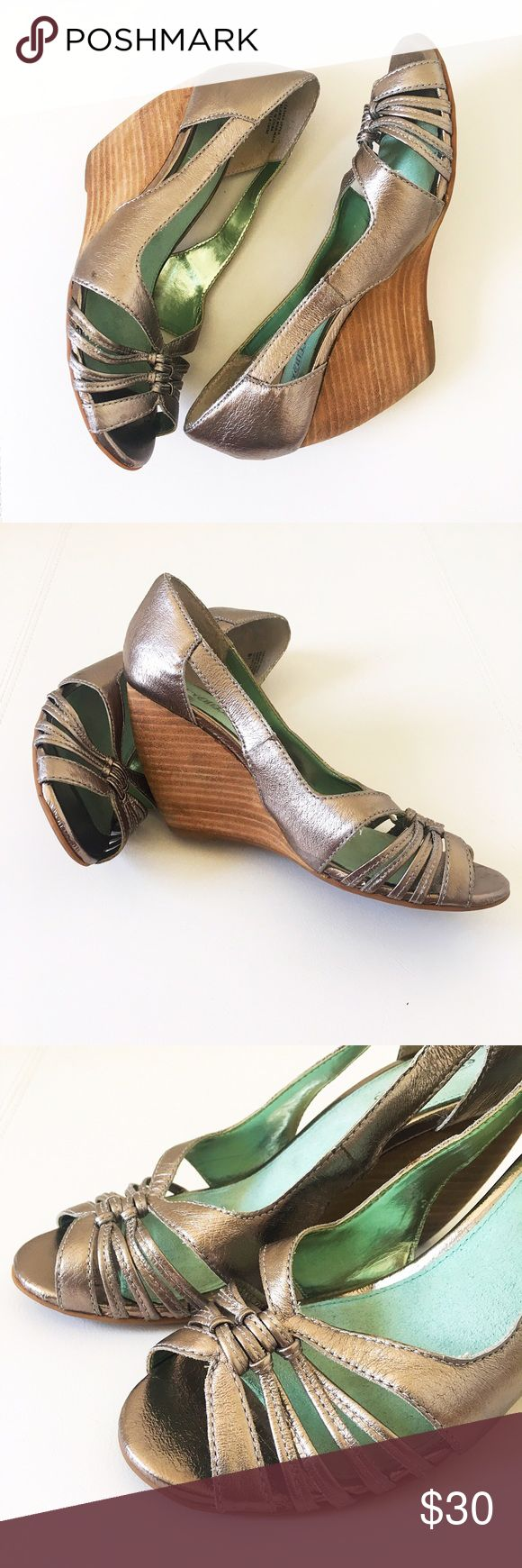 Seychelles Metallic Leather Wedges Wooden Heel So fun and sexy and very comfy. These are used condition but really great shape! The right inside of the heel has a small spot as you can see in last pic. Seychelles Shoes Wedges