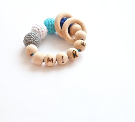 Baby toy with personalization, teething ring toy by nihamaj, $21.00