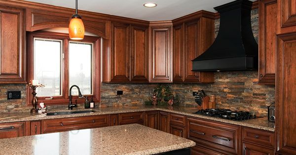 8' cabinets with stone hood   cherry cabinets and stone backsplash   Kitchen   Pinterest   Rustic ...