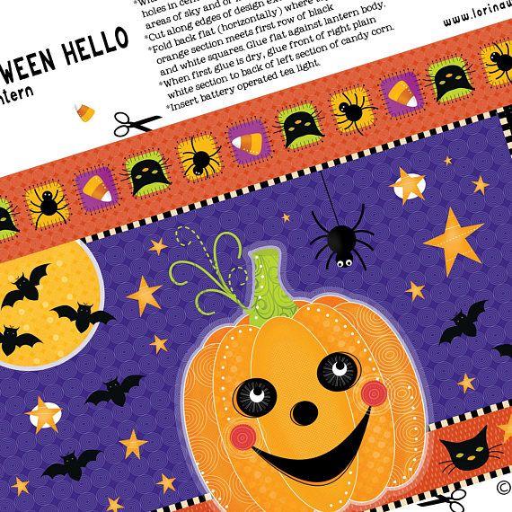 Printable Digital Download  Halloween Hello Paper Lantern
