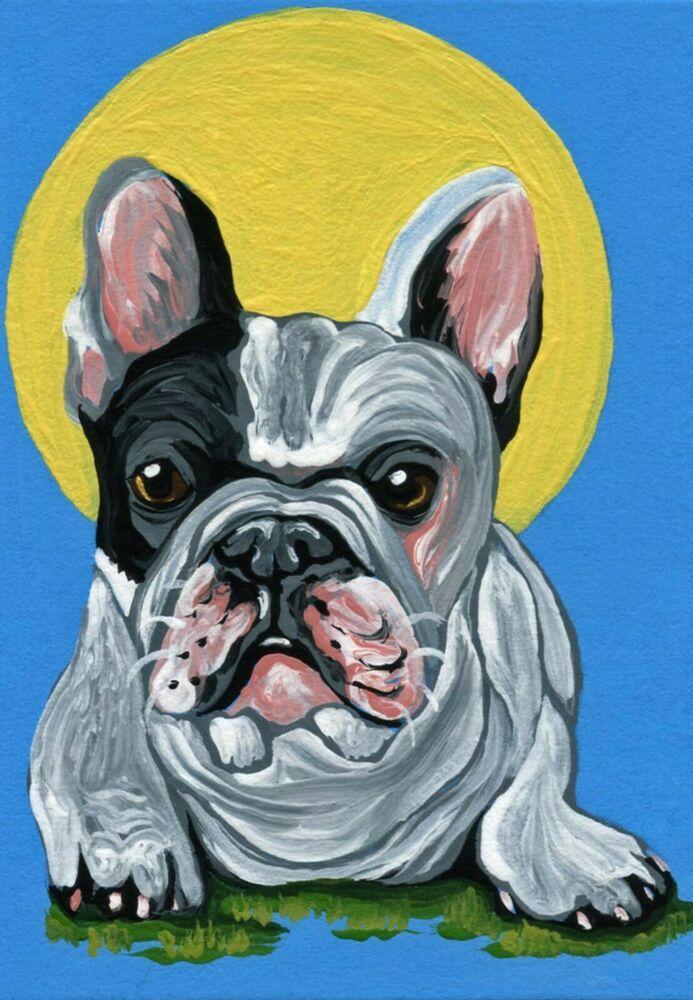 ACEO ATC  Blue French Bulldog Original Gouache Painting Pet Dog Art-Carla Smale
