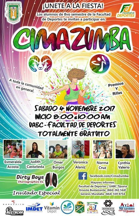 CON PERMISO DEL ADMINISTRADOR!! Unete a la fiesta!!TE ESTAMOS INVITANDO EL GRUPO 281 DE LA FACULTAD DE DEPORTES UABC tijuana, A PARTICIPAR EN EL EVENTO CIMAZUMBA TOTALMENTE GRATIS El dia sabado 4 de Noviembre del 2017!! No faltes!! TE ESPERAMOS #sheleads #womeninsport #swim #picoftheday #sport #sportoutfit | #talksport #game #instalike #gameday #athlete | #win #winning #followforfollow #yogini #hustle #muscle | #lift #instawoman #workout #instafit #fitness #homegym | #transformation…
