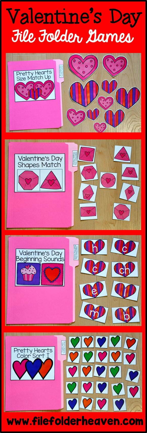 This Valentine's Day File Folder Games Mini-Bundle includes 15 complete Valentine's Day themed file folder games that focus on basic skills.
