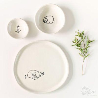 Bush Prints Collection ~ gift set ~ wombat    A collaboration between artist Renée Treml and Kim Wallace Ceramics ~ Handmade Australian Ceramics