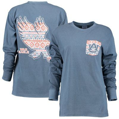 Women's Navy Blue Auburn Tigers Coastal Aztec Long Sleeve T-Shirt