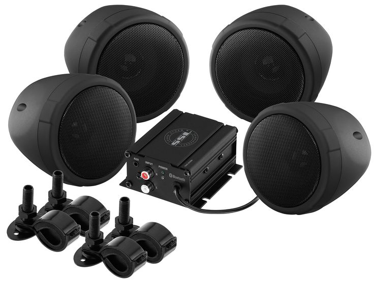 """Sound Storm Laboratories SMC90BB Bluetooth Motorcycle/UTV Speaker & Amplifier System. Two pairs of weather proof 3"""" Black full range speakers - amplifier with Wired remote volume control. Bluetooth audio streaming: stream your favorite music or music service like Spotify or Pandora wirelessly. Frequency response 80Hz to 15kHz, sn >85Db, thd: < 0.01% - includes mounting brackets adjustable to fit 0.75"""" to 1.25"""" handle bars. One pair RCA inputs - 3.5 mm aux input compatible with audio…"""