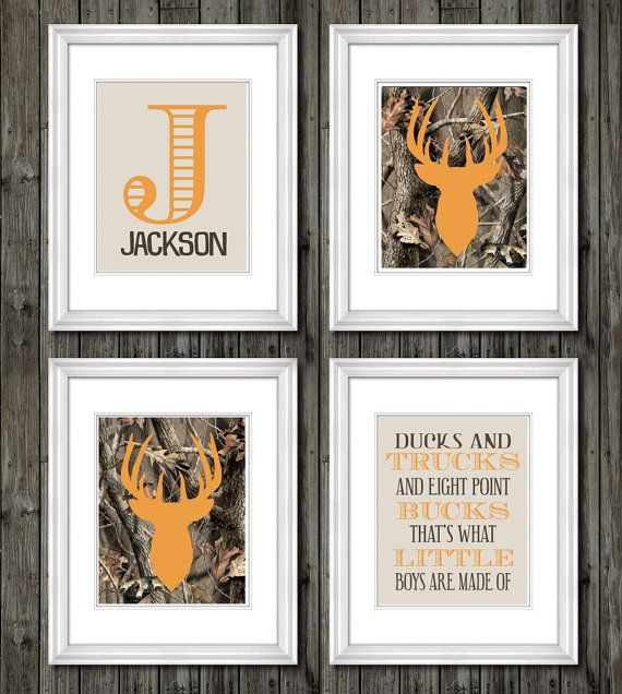 Boys camouflage buck deer with quote and personalized print, ducks, bucks, trucks, what little boys are made of, hunting theme, camo boys