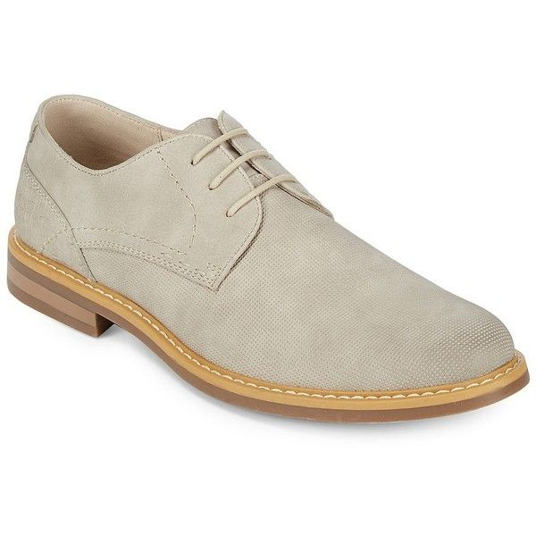Kenneth Cole REACTION Men's Textured Derbys ($98) ❤ liked on Polyvore featuring men's fashion, men's shoes, men's oxfords, taupe, mens shoes, mens round toe shoes, mens lace up shoes, mens derby shoes and mens fur lined shoes