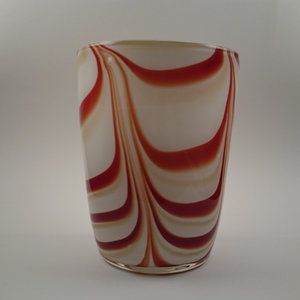 Decorative white opaline glass vase with red swirls by Vetreria di Borgonovo (VB) Opaline Florence Italy,