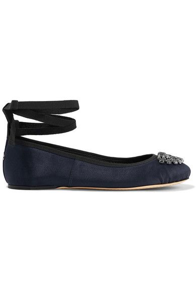 Jimmy Choo - Grace Crystal-embellished Satin Ballet Flats - Navy - IT