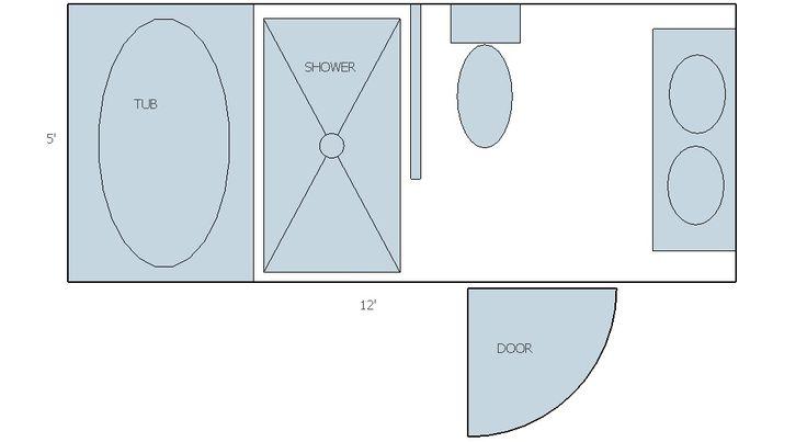 Sketch up long narrow bathroom layout bathroom ideas for Long narrow master bathroom layout
