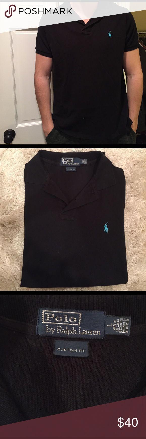 Polo by Ralph Lauren black polo shirt Polo Ralph Lauren Custom Fit black polo. Size Large. Barely worn Polo by Ralph Lauren Shirts