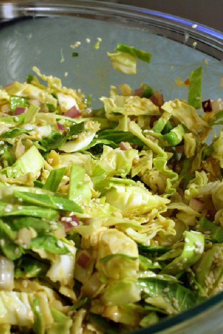 Weight Watchers Friendly Japanese-Style Cabbage Salad Recipe with Garlic, Ginger Root, Onion, Almonds, and Sesame Seeds - 4 WW SmartPoints, 126 Calories, 8 Carbs